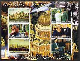 Congo 2005 Royal Marriage - Charles & Camilla #1 imperf sheetlet containing set of 6 values unmounted mint