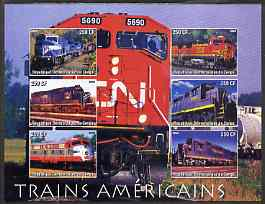 Congo 2005 American Diesel Trains imperf sheetlet containing set of 6 values unmounted mint