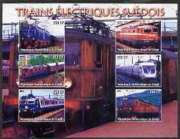 Congo 2005 Swedish Electric Trains imperf sheetlet containing set of 6 values unmounted mint
