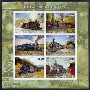 Mauritania 2003 Classic Locomotives imperf sheetlet containing 6 values unmounted mint