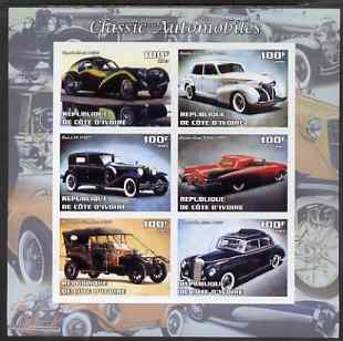 Ivory Coast 2003 Classic Cars imperf sheetlet containing 6 values unmounted mint