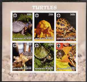 Benin 2003 Turtles #1 imperf sheetlet containing 6 values each with Scouts Logo, unmounted mint