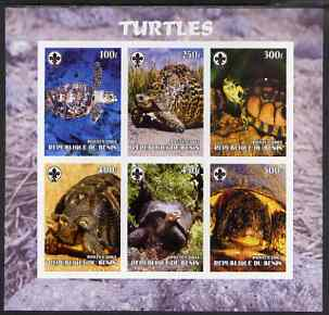 Benin 2003 Turtles #2 imperf sheetlet containing 6 values each with Scouts Logo, unmounted mint