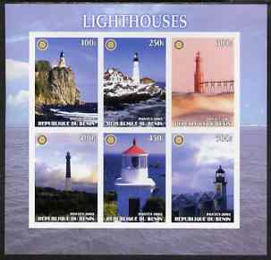 Benin 2003 Lighthouses #2 imperf sheetlet containing 6 values each with Rotary Logo, unmounted mint