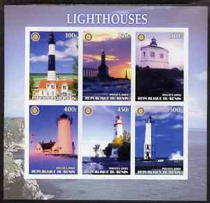 Benin 2003 Lighthouses #3 imperf sheetlet containing 6 values each with Rotary Logo, unmounted mint
