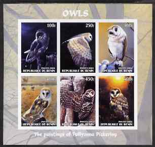 Benin 2003 Owls #2 imperf sheetlet containing 6 values unmounted mint