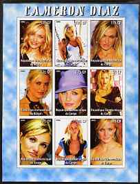 Congo 2005 Cameron Diaz #1 imperf sheetlet containing 9 values unmounted mint