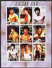 Congo 2005 Bruce Lee imperf sheetlet containing set of 9 values unmounted mint