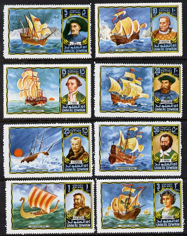 Umm Al Qiwain 1972 Navigators & Ships set of 8 (MI 832-39A) unmounted mint