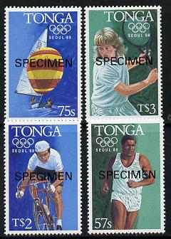 Tonga 1988 Olympic Games set of 4 opt'd SPECIMEN (Athletics, Yachting, Cycling, Tennis) unmounted mint as SG 990-93*
