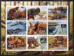 Benin 2003 Dinosaurs & Minerals imperf sheet containing 9 values unmounted mint