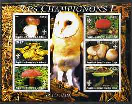 Congo 2004 Mushrooms #1 imperf sheetlet containing 6 values each with Scout Logo and Barn Owl in background, unmounted mint