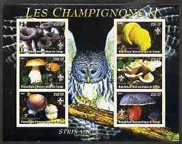 Congo 2004 Mushrooms #2 imperf sheetlet containing 6 values each with Scout Logo and Barred Owl in background, unmounted mint