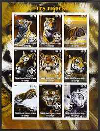 Congo 2004 Tigers imperf sheetlet containing 9 values each with Scout Logo unmounted mint