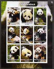 Congo 2004 Pandas imperf sheetlet containing 9 values each with Scout Logo unmounted mint