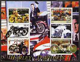 Congo 2004 Harley Davidson #1 imperf sheetlet containing 6 values (with Elvis in background) unmounted mint