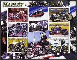 Congo 2004 Harley Davidson #2 imperf sheetlet containing 6 values (with Elvis in background) unmounted mint