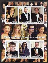 Benin 2003 75th Annual Academy Awards imperf sheetlet #1 containing 6 values unmounted mint (shows N Kidman, Bono, etc)