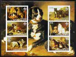 Benin 2003 Paintings of Dogs imperf sheetlet containing 6 values each with Scouts Logo unmounted mint