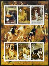 Eritrea 2003 Paintings of Dogs imperf sheetlet containing 6 values each with Scouts Logo unmounted mint