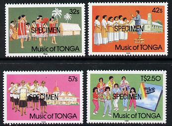Tonga 1988 Music of Tonga set of 4 opt'd SPECIMEN, as SG 994-97 unmounted mint