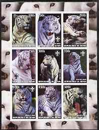 Benin 2003 Tigers #1 imperf sheetlet containing set of 9 values each with Scouts Logo unmounted mint