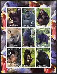 Eritrea 2003 Gorillas imperf sheetlet containing set of 9 values each with Rotary Logo unmounted mint