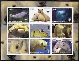 Benin 2003 Polar Bears imperf sheetlet containing set of 9 values each with Scouts Logo unmounted mint
