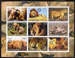 Eritrea 2003 Lions imperf sheetlet containing set of 9 values each with Rotary Logo unmounted mint