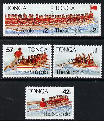 Tonga 1991 Rowing Festival set of 5 opt'd SPECIMEN, as SG 1148-52 unmounted mint