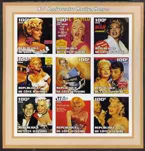Ivory Coast 2002 Marilyn Monroe 40th Death Anniversary #2 imperf sheetlet containing 9 values unmounted mint