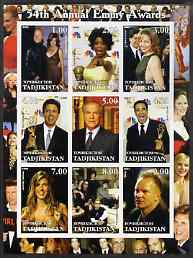 Tadjikistan 2002 54th Annual Emmy Awards imperf sheetlet containing 9 values unmounted mint (showing Oprah Winnfrey, the Osbournes, Sting, etc)