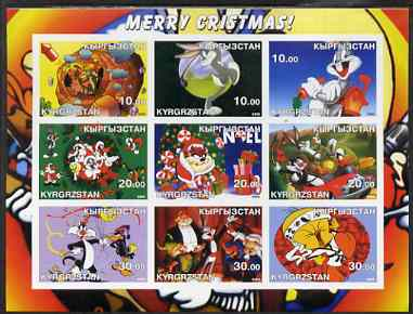 Kyrgyzstan 2002 Looney Tunes Merry Christmas #1 imperf sheetlet containing 9 values unmounted mint