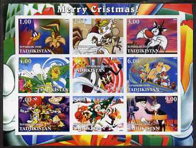 Tadjikistan 2002 Looney Tunes Merry Christmas imperf sheetlet containing 9 values unmounted mint