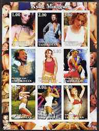 Tadjikistan 2002 Kylie Minogue imperf sheetlet containing 9 values unmounted mint