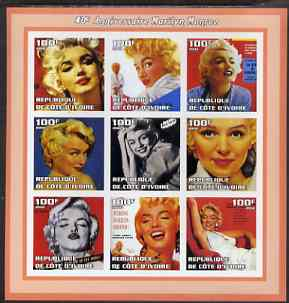 Ivory Coast 2002 Marilyn Monroe 40th Death Anniversary #3 imperf sheetlet containing 9 values unmounted mint