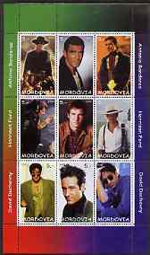 Mordovia Republic 2000 Movie Stars perf sheetlet containing 9 values unmounted mint (Antonio Banderas, Harrison Ford & David Duchovny)