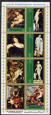 Ajman 1972 Nude Paintings from the Old Pinakothek (2) perf sheetlet containing 8 values unmounted mint Mi 2529-36A