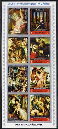Manama 1972 Paintings from the Old Pinakothek imperf sheetlet containing 8 values unmounted mint Mi 1248-55B