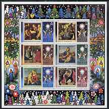 Anguilla 1973 Christmas perf m/sheet containing set of 6 unmounted mint, SG MS173, stamps on christmas, stamps on bethlehem, stamps on angels, stamps on arts, stamps on candles