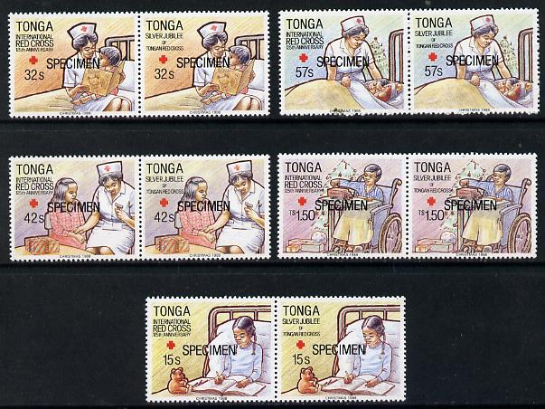 Tonga 1988 Red Cross set of 10 (5 bi-lingual pairs) opt'd SPECIMEN, as SG 1022-31 unmounted mint