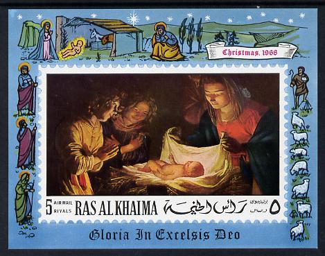 Ras Al Khaima 1968 Christmas Religious Paintings imperf m/sheet unmounted mint (Mi BL 50C)