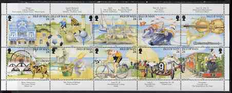 Isle of Man 1994 Manx Tourism Centenary perf sheetlet containing set of 10 unmounted mint SG 590a