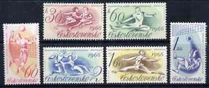 Czechoslovakia 1966 Sports Events (a)European Figure Skating Championships, (b) World Volleyball Championships complete set of 6 unmounted mint, SG 1547-52