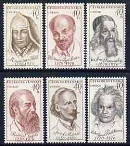 Czechoslovakia 1970 UNESCO Anniversaries of World figures set of 6 unmounted mint, SG1871-76