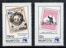 Tonga - Niuafo'ou 1984 Ausipex Stamp Exhibition self-adhesive set of 2 opt'd SPECIMEN (Tongan Map stamp & Australian Roo), as SG 48-49 unmounted mint (blocks or gutter pairs with Postal slogans pro rata)