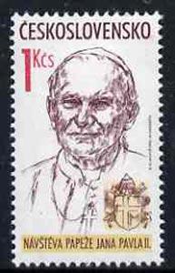 Czechoslovakia 1990 Papal Visit (Pope Jean Paul II) 1k unmounted mint, SG3021