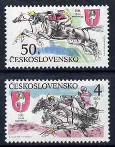 Czechoslovakia 1990 Centenary of Pardubice Steeplechase set of 2 unmounted mint, SG3036-37