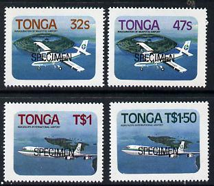 Tonga 1983 Niuafo'ou Airport self-adhesive set of 4 opt'd SPECIMEN, as SG 843-46 unmounted mint