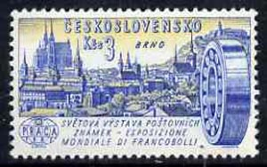 Czechoslovakia 1961 View of Brno and Roller Bearing(?) 3k unmounted mint from 'Praga 62' International Stamp Ex set, SG1255, stamps on exhibitions, stamps on engineering